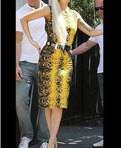 Lady Gaga yellow dress 2011 snakeskin