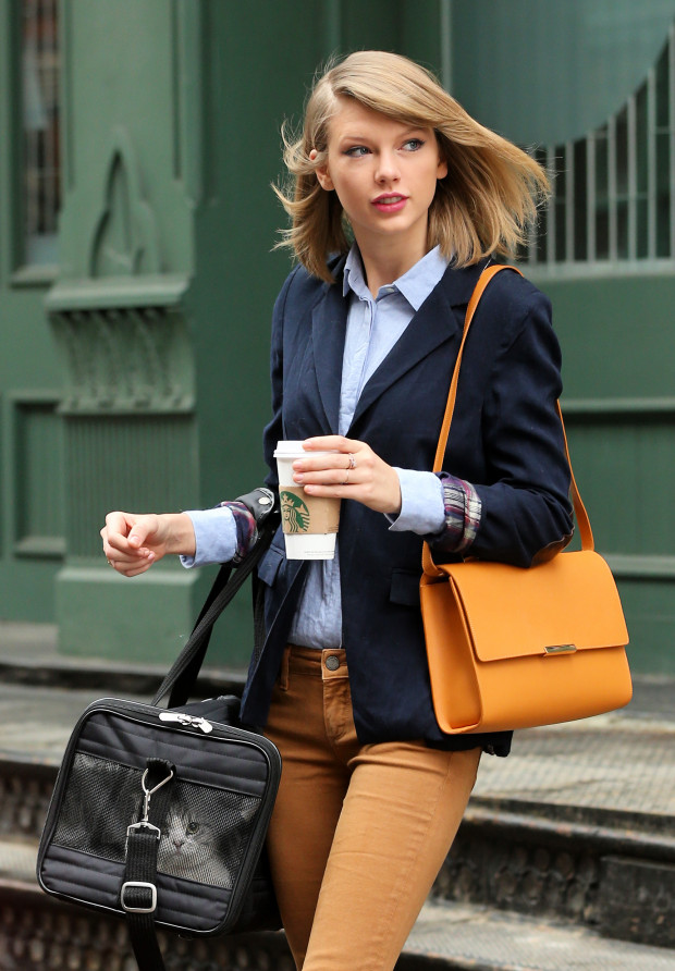 Singer Taylor Swift, wearing rust jeans, blue shirt, blue blazer, a J. Mendel purse, and ankle boots, and her Scottish fold kitten Meredith head out for the day in Tribeca in New York City. Taylor named Meredith after the character Meredith Grey (played by Ellen Pompeo) from Taylor's favorite show 'Grey's Anatomy'.  Pictured: Taylor Swift Ref: SPL728843  300314   Picture by: Christopher Peterson/Splash News  Splash News and Pictures Los Angeles:	310-821-2666 New York:	212-619-2666 London:	870-934-2666 photodesk@splashnews.com