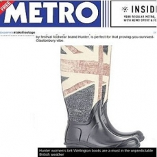 Hunter -Brit wellington boots included in the Metro