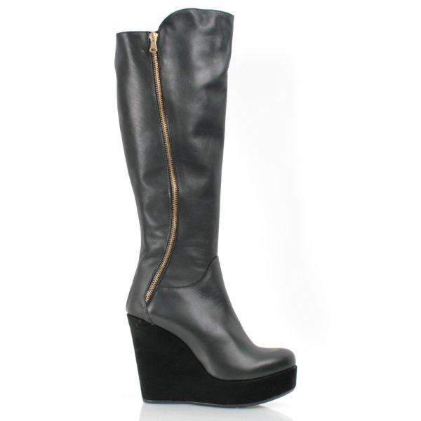 daniel black leather koreless womens wedge boot