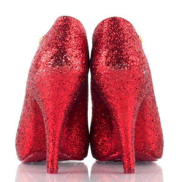 Viva Bordello Charm City Red Mini Glitter Shoes for Women | E