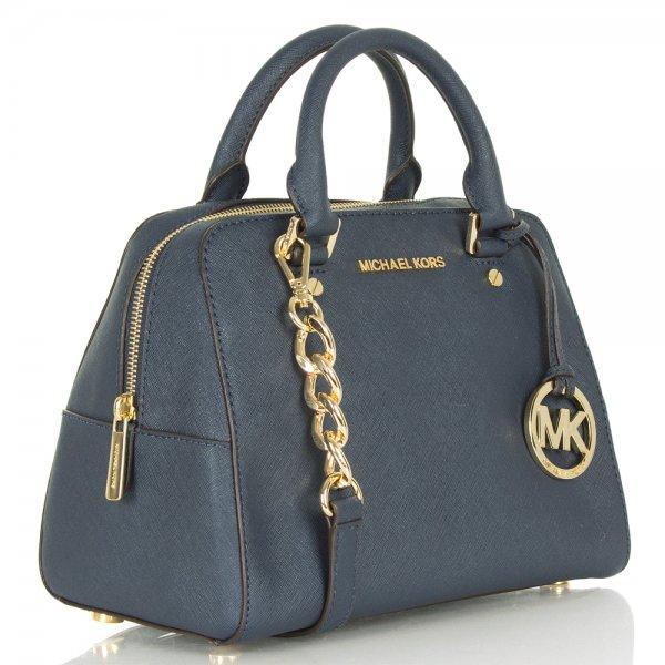 michael kors navy leather large jetset travel satchel bag. Black Bedroom Furniture Sets. Home Design Ideas