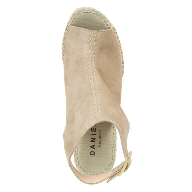Daniel Carnaby Street Taupe Suede Ankle Strap Wedge Espadrille