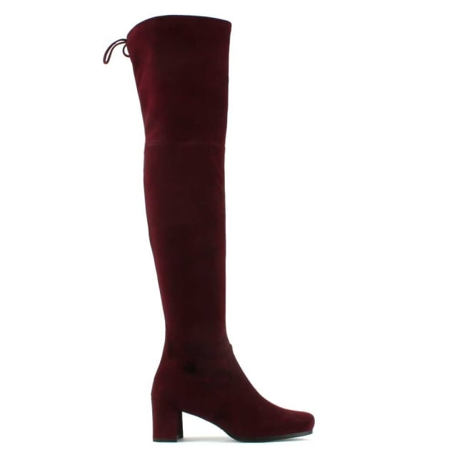 Stuart Weitzman Hinterland Burgundy Suede Block Heel Over The Knee Boot