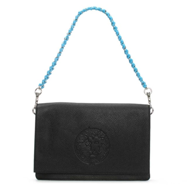 Versus Versace Sideman Black Leather Shoulder Bag