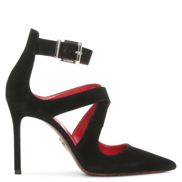 Cesare Paciotti Black Suede Strap Court Shoe