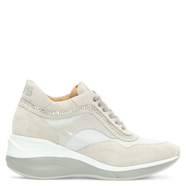 Cesare Paciotti Grey Suede Lace Up Wedge Trainer