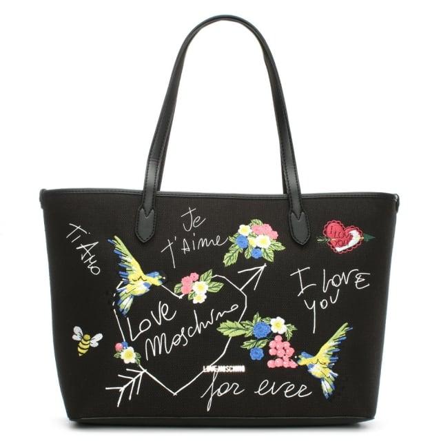 Love Moschino Kuala Black Printed Canvas Tote Bag