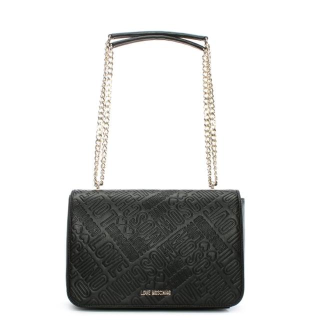 Love Moschino Batu Black Embossed Logo Cross-Body Bag