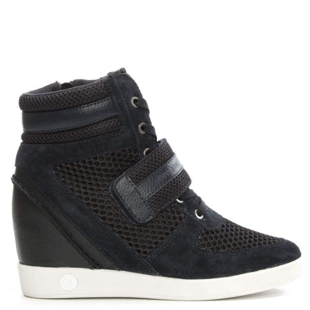 Armani Jeans Navy Mesh High Top Wedge Trainer
