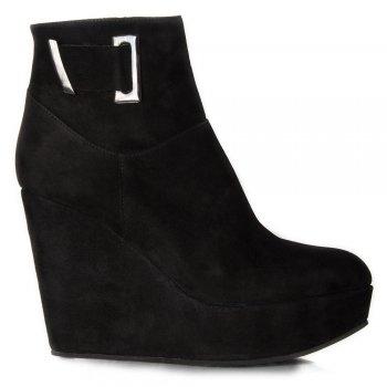 Black Daru Womens Wedge Ankle Boot