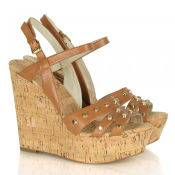 Michael Kors Jolie Tan Leather Cork Wedge Sandal
