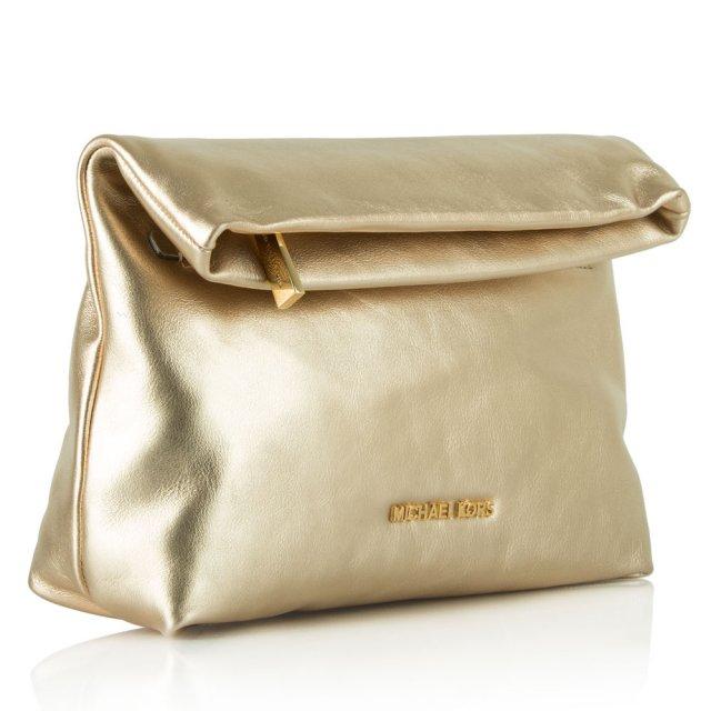 Michael Kors › Michael Kors Gold Leather Daria Fold Over Clutch 1b2acdbbf65c6