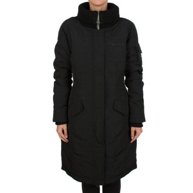 Black Long Flannel Duck Down Coat