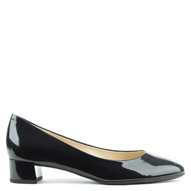 Low Block Heel Navy Patent Court Shoe
