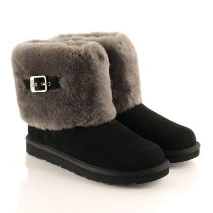 UGG® Australia Authorised Retailer Black Ellee Women's Flat Cuff Boot