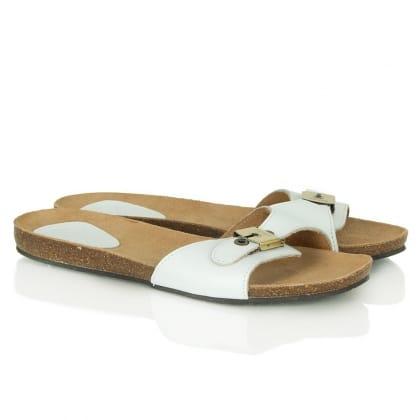 New Bahama White Leather Flat Sandals