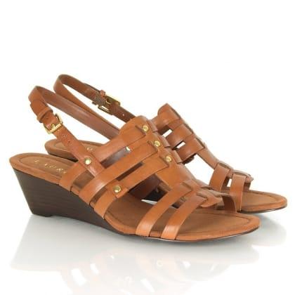 Tan Lucetta Women's Mid<br /> Wedge Sandal