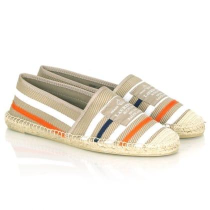 Beige Striped Debby Women's Flat Shoe