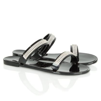 Black Rara<br /> Flat Strap Women's Diamante Sandal