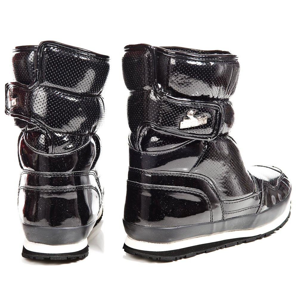 Rubber Duck Black Patent Sporty Womens Snow Boot