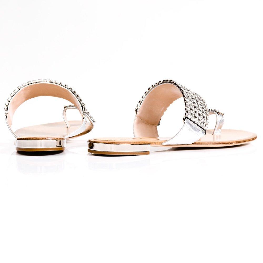 Daniel Daniel Silver Rhinestone Womens Flat Sandal