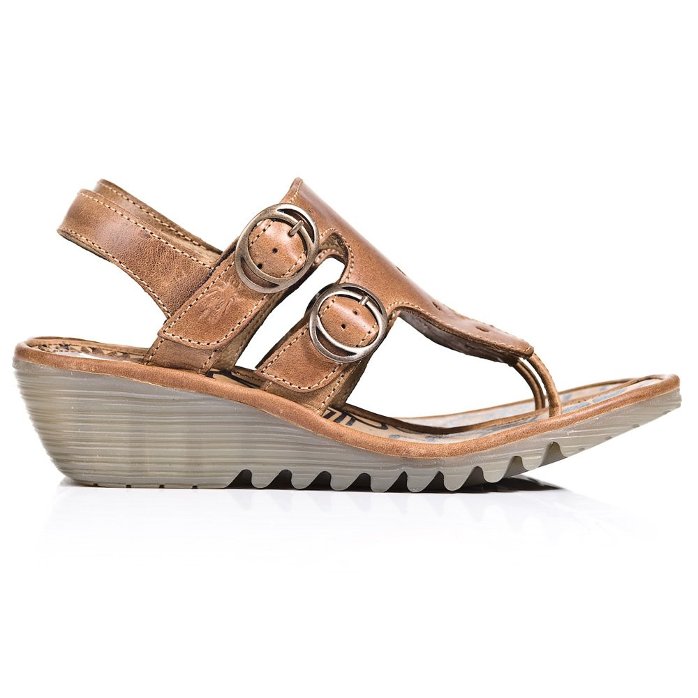 Fly London Tan Osmo Women S Mid Wedge Sandal