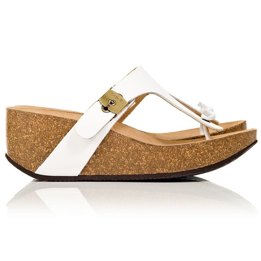 Scholl White Edna Women S Wedge Toe Post Sandal