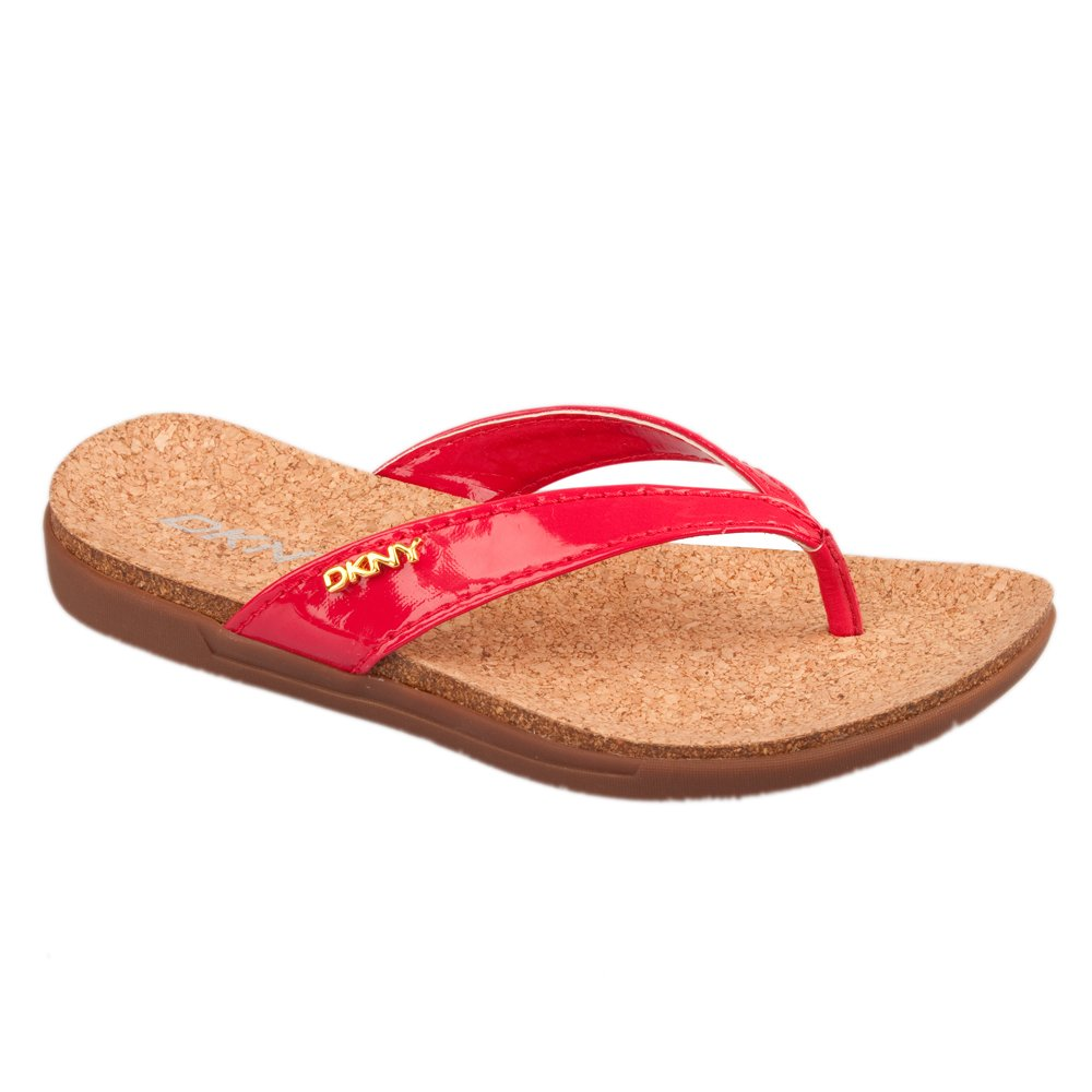dkny red darma women�s toe post flat sandal