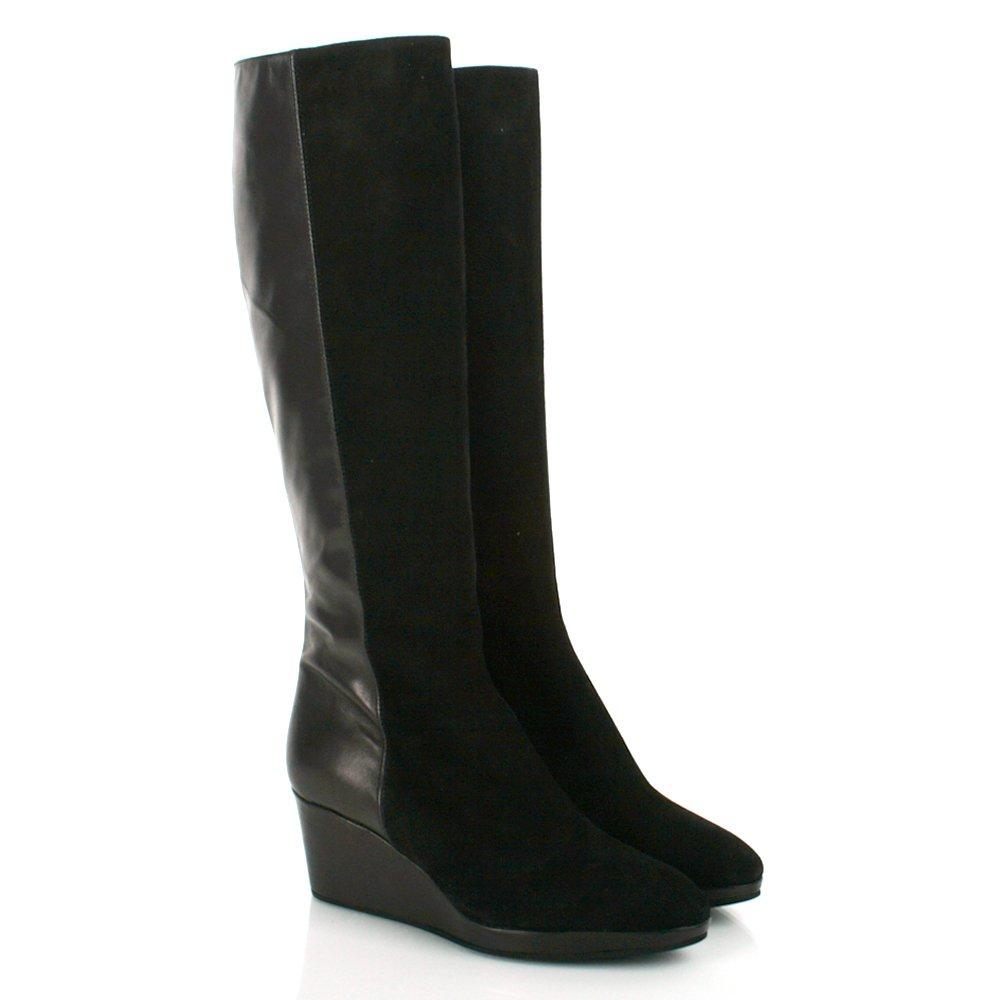 black lae s knee high wedge boot