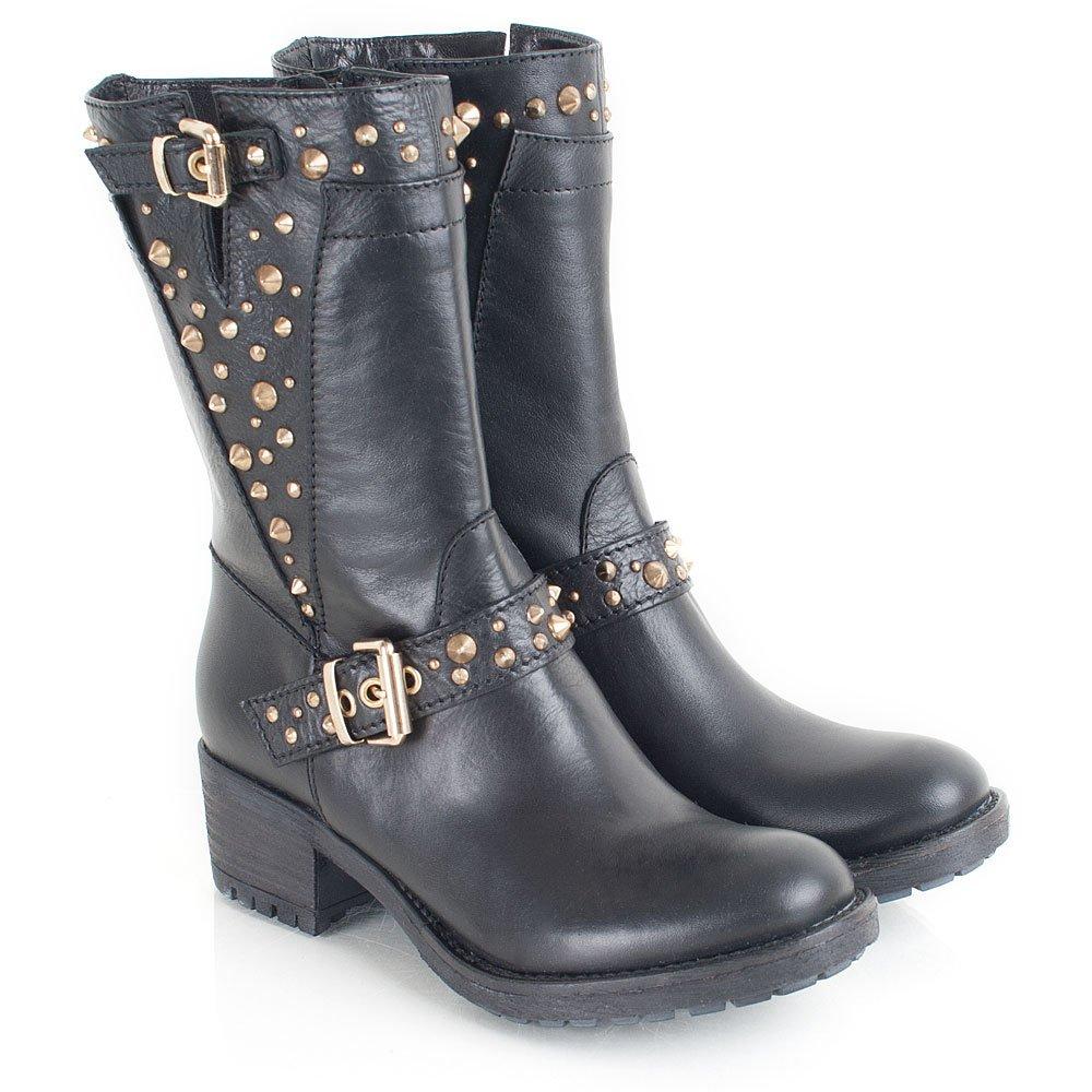 daniel black leather passeri studs womens biker boot