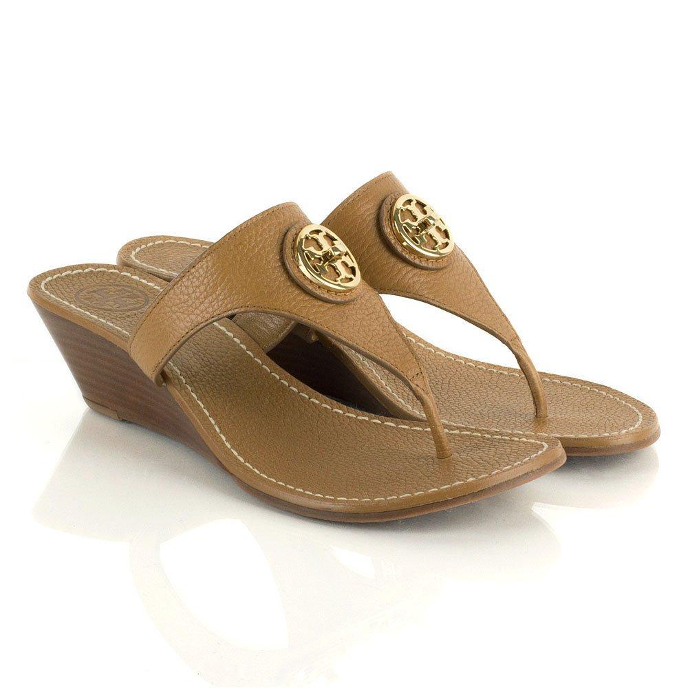 Tory Burch Tan Selma Logo Women S Toe Post Wedge Sandal