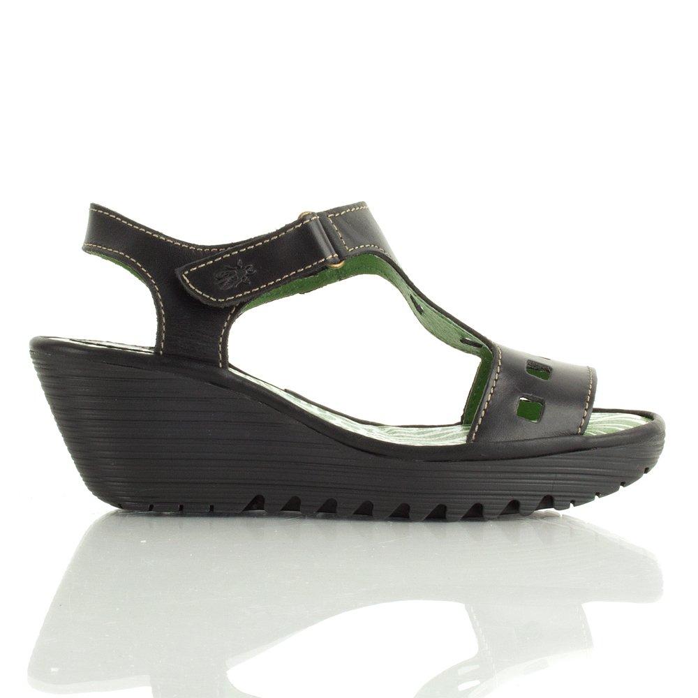 Fly London Black Yist Women S Mid Wedge Sandal