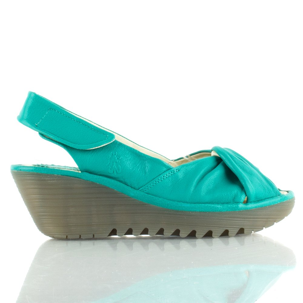 Fly Turquoise Yakin Women S Mid Wedge Sandal