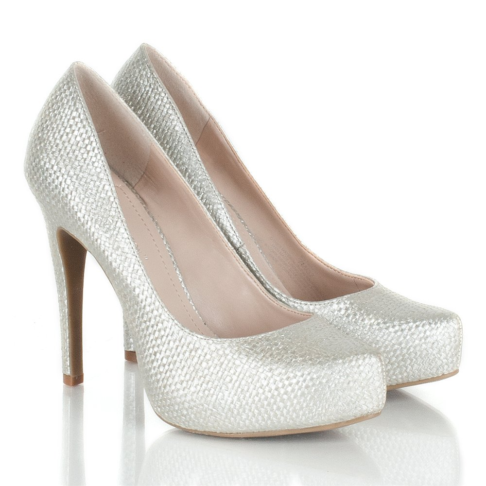 Silver High Heeled Court Shoes Size