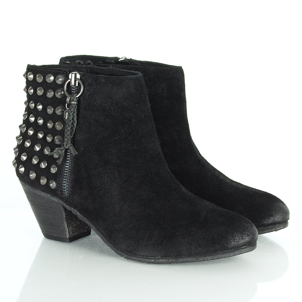ash nevada black s studded ankle boot