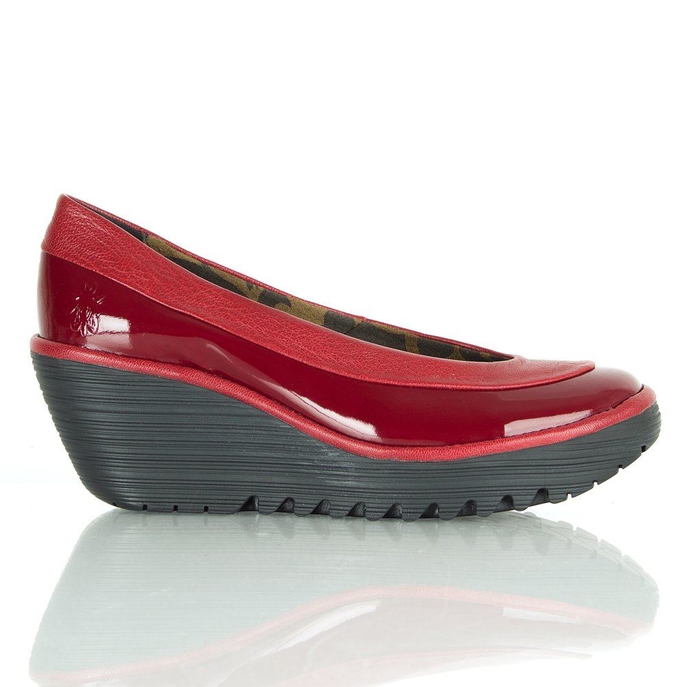 Fly London Red Patent Yoko Women's Wedge Shoe