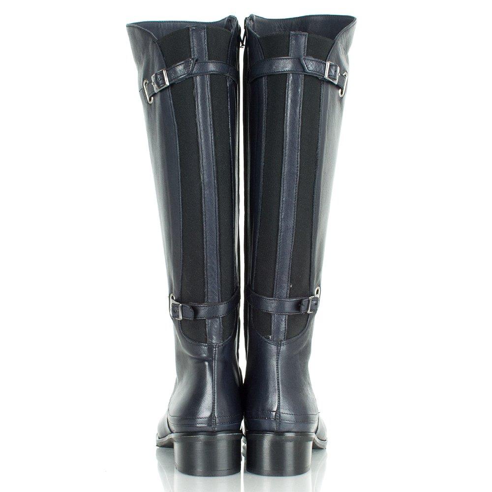 Original Brand Suede Navy Blue Flat Knee High Boots  Sexyshoeswomancom