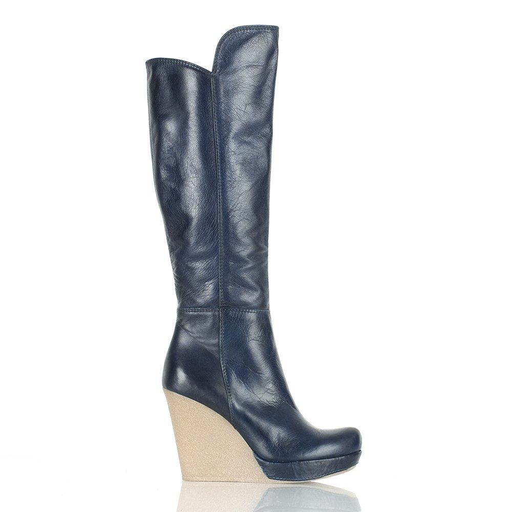 daniel navy wisdom womens knee high wedge boot