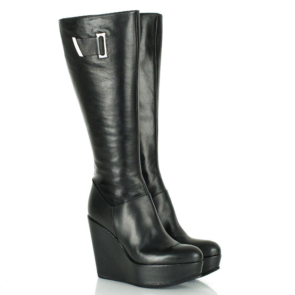 daniel black leather etka s knee high wedge boot