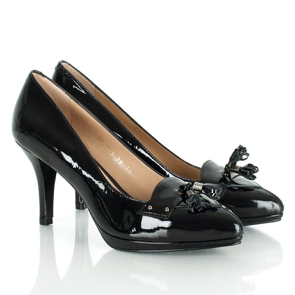 daniel checa patent black court shoe