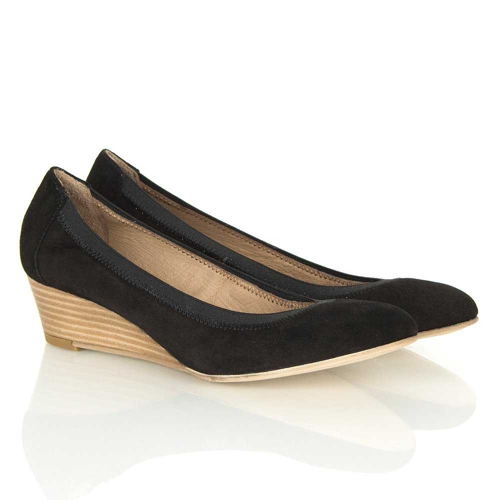 foria black suede low wedge shoes