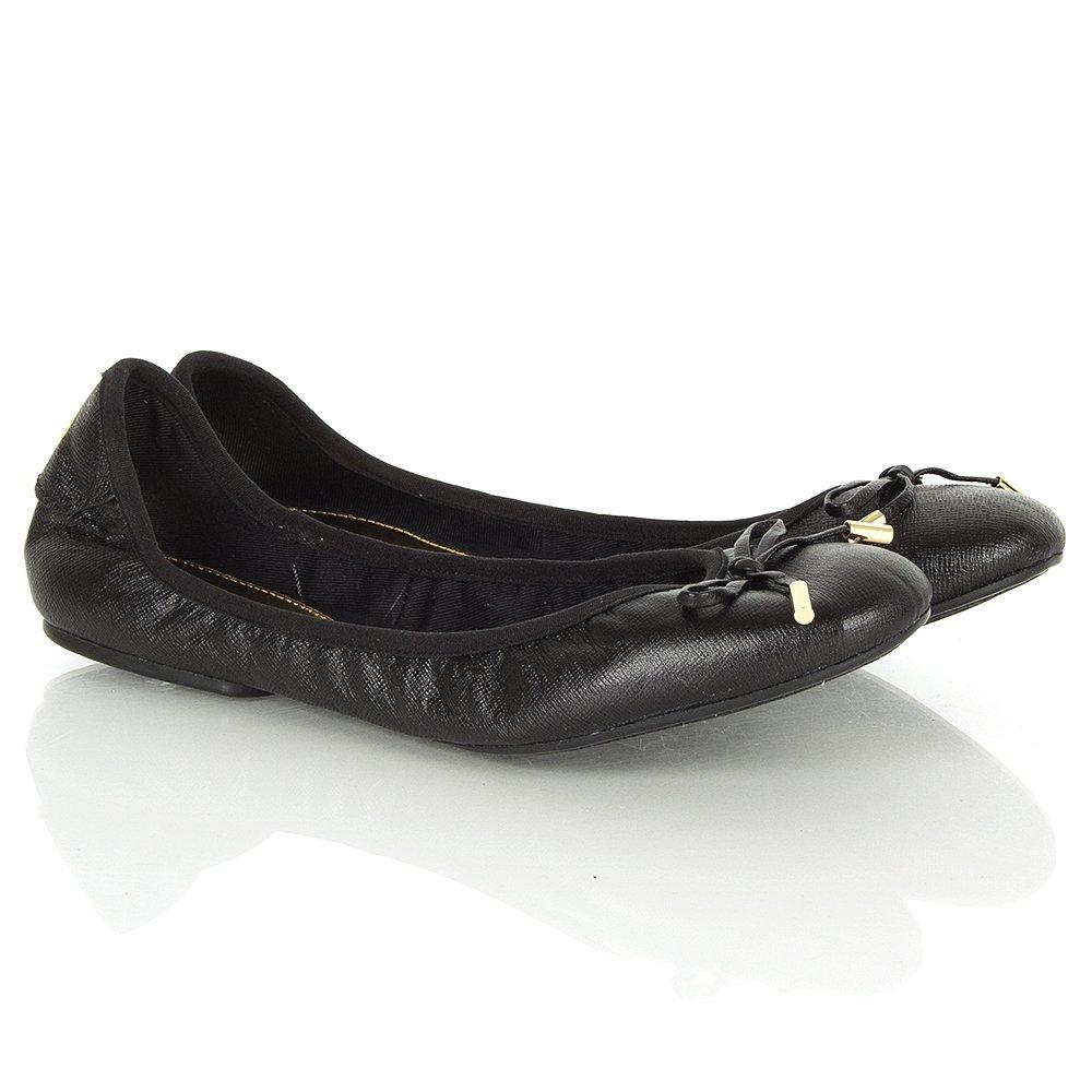 michael kors black leather city ballet women 39 s flat pump. Black Bedroom Furniture Sets. Home Design Ideas