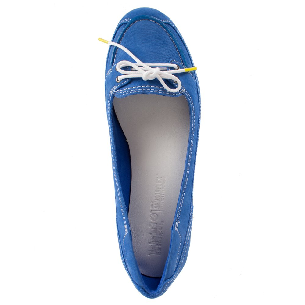 WOMENS LADIES TIMBERLAND 2 EYE BLUE LEATHER SUMMER DECK BOAT SHOES SIZE UK 5 6