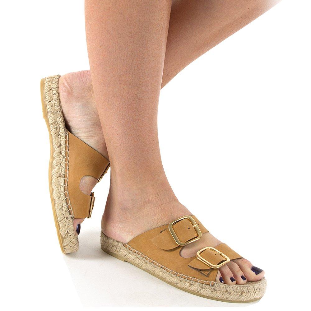 Daniel Tosda Tan Leather Womens Flat Sandal