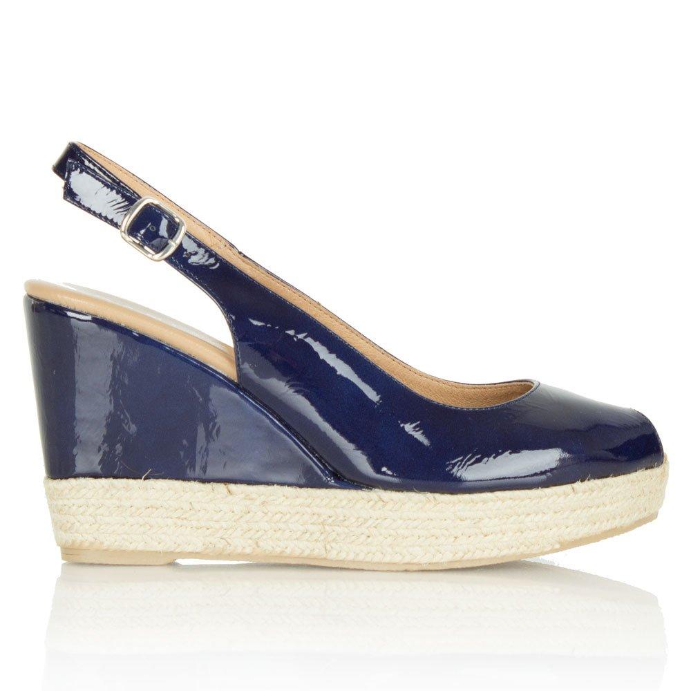 daniel charmer womens navy patent wedge sling back shoe