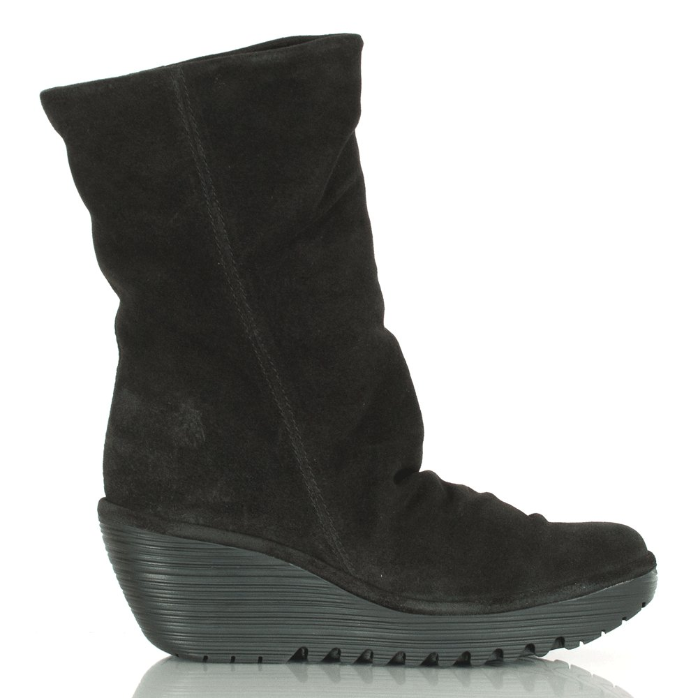 black suede yara mid wedge calf boot
