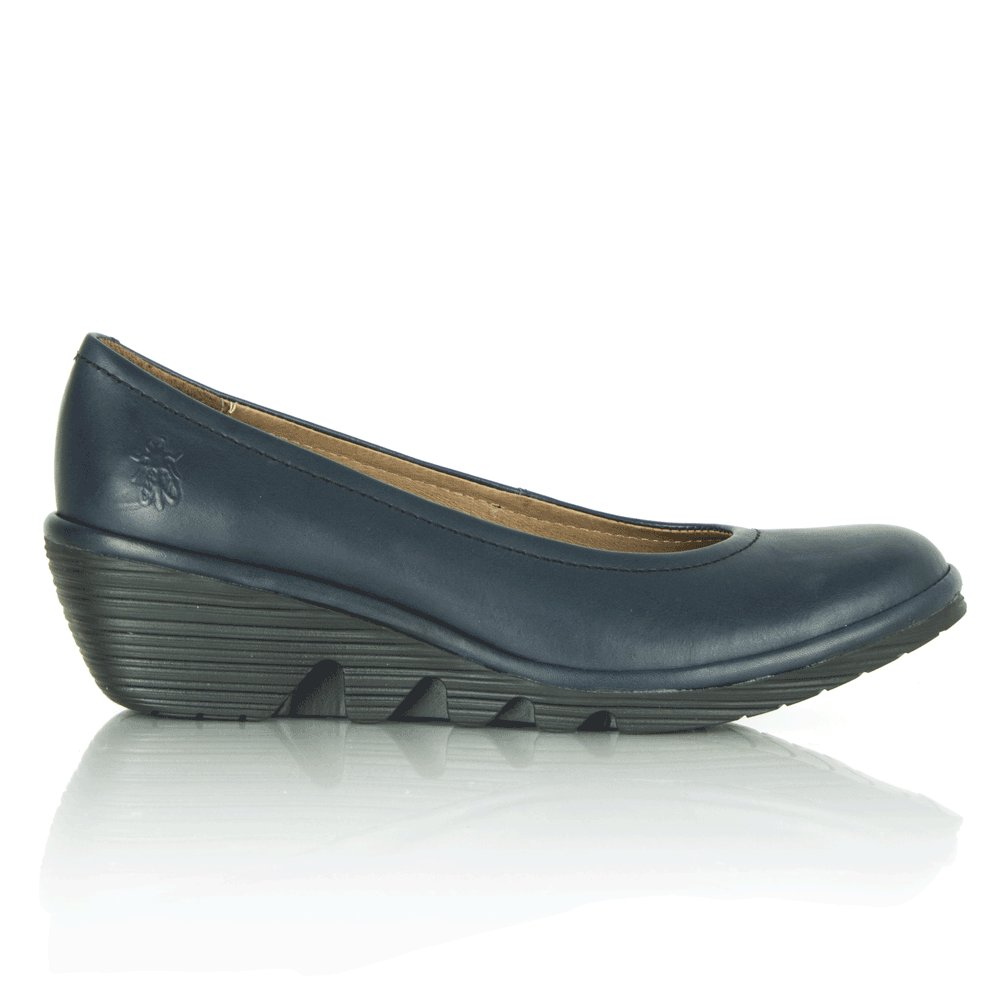 fly navy low wedge s shoe