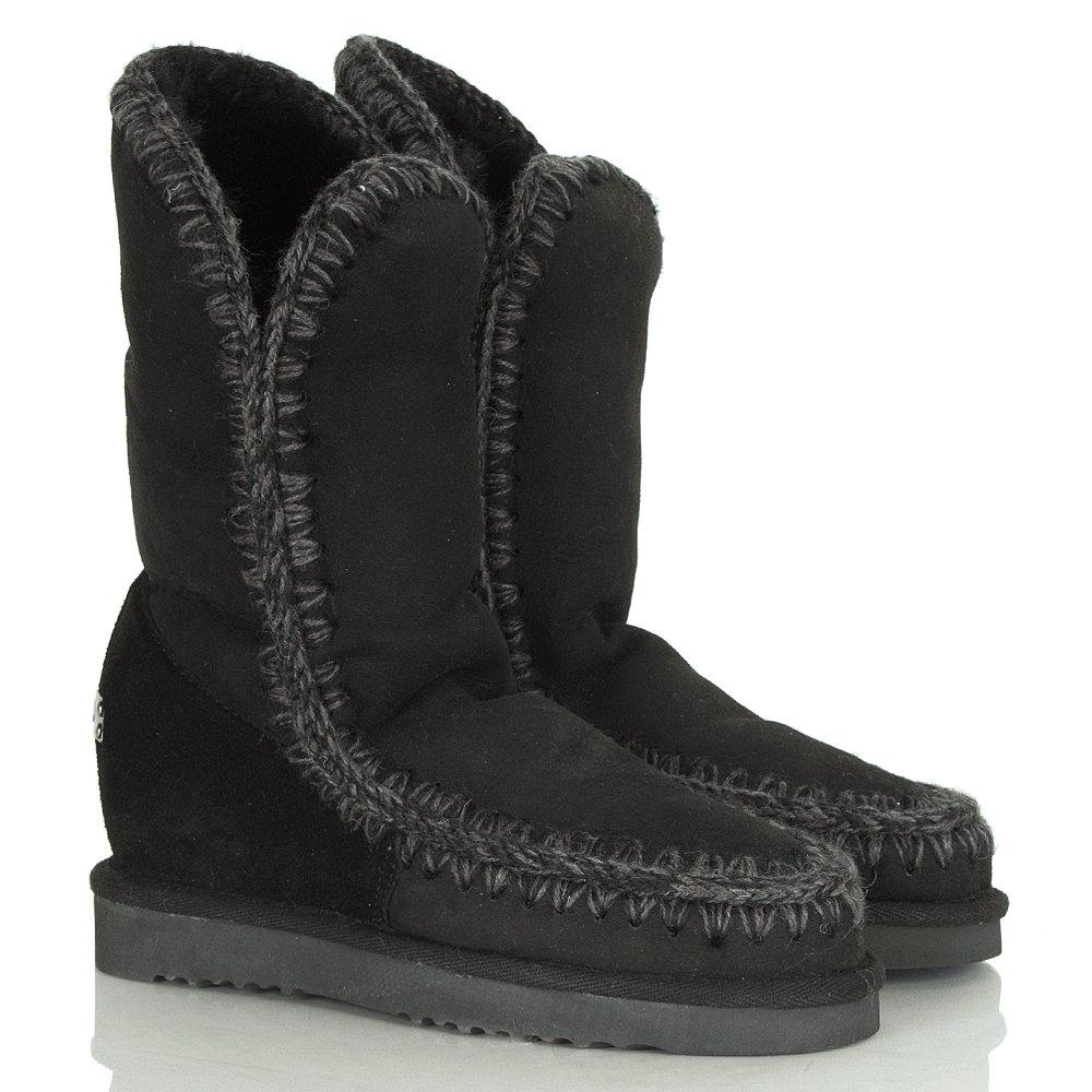 Eskimo Black Wedge Tall Crochet Seam Boot