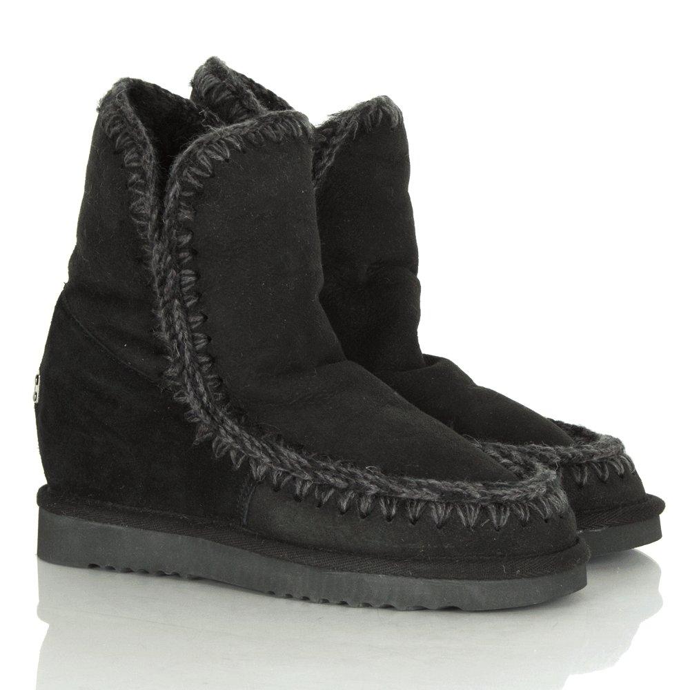 Mou Black Suede Eskimo Wedge Short Crochet Seam Boot